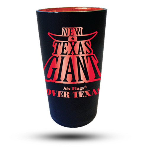 TEXAS GIANT MATTE BLACK PINT GLASS (SIX FLAGS OVER TEXAS)