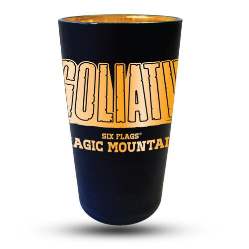 GOLIATH MATTE BLACK PINT GLASS (SIX FLAGS MAGIC MOUNTAIN)