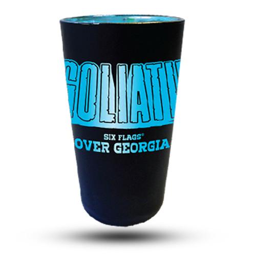 GOLIATH MATTE BLACK PINT GLASS (SIX FLAGS OVER GEORGIA)
