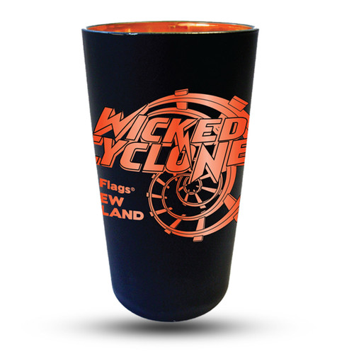 WICKED CYCLONE MATTE BLACK PINT GLASS (SIX FLAGS NEW ENGLAND)