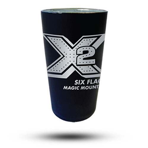 X2 MATTE BLACK PINT GLASS (SIX FLAGS MAGIC MOUNTAIN)