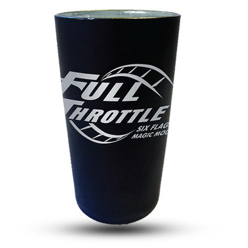 FULL THROTTLE MATTE BLACK PINT GLASS (SIX FLAGS MAGIC MOUNTAIN)
