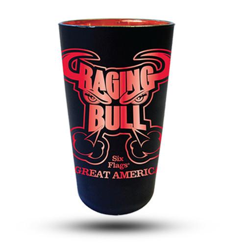 RAGING BULL MATTE BLACK PINT GLASS (SIX FLAGS GREAT AMERICA)