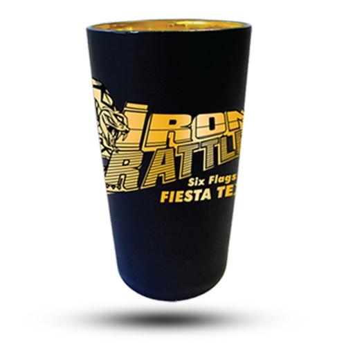 IRON RATTLER MATTE BLACK PINT GLASS (SIX FLAGS FIESTA TEXAS)