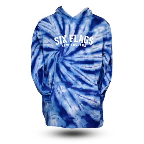 New England Blue Spiral Tye Dye Hoodie