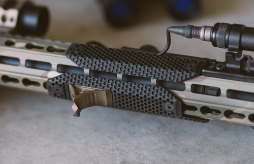 XOS-H™ Rail Scales in KeyMod with Karve hand stop on AR-15 rifle and surefire light