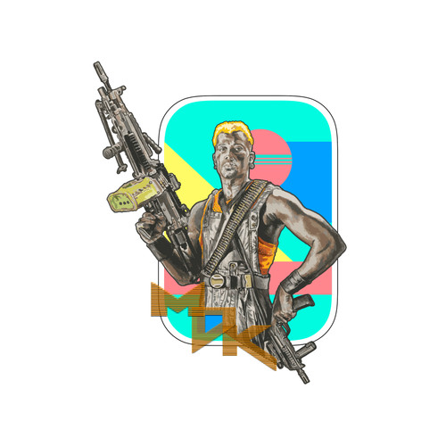 Simon Says MDK AR-15 sticker by Lorin Michki from RailScales Simon phoenix demolition man Wesley snipes with a saw 249 and MP7