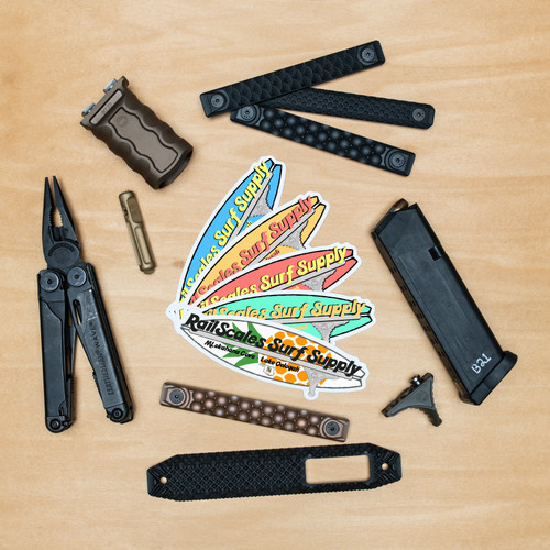 RailScales Surf Supply PVC Sticker with AR-15 Accessories from RailScales