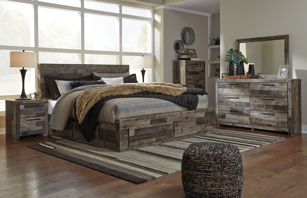 The Derekson Multi Gray 8 Pc King Bedroom Collection Available At Ivey S Furniture Serving Easley Pickens And Piedmont Sc