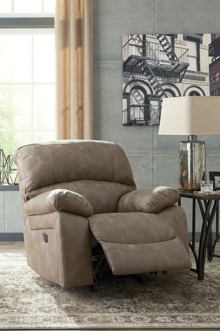 The Dunwell Driftwood Power Rocker Reclining Adjustable Headrest