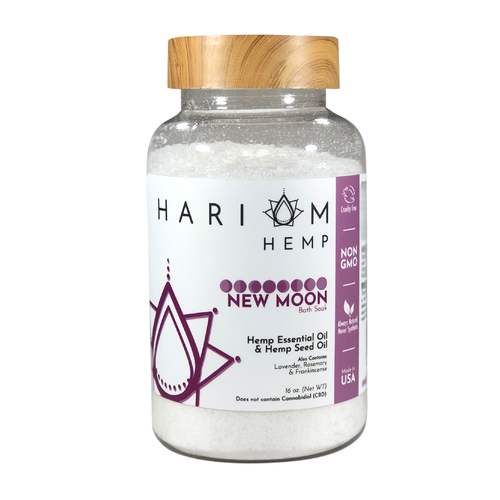 New Moon Bath Soak (Hemp Essential Oil & Hemp Seed Oil) (Non-CBD) (16oz.)