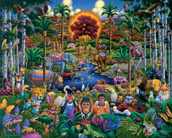 The Garden of Eden is presented along with Adam and Eve and a colorful assortment of animals, birds, insects and plants in this well-designed and entertaining puzzle.