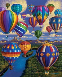 Enjoy this colorful puzzle by Dowdle Folk Art featuring a birds-eye view of the action while floating among the clouds along with a surprising group fellow balloonists.