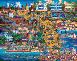 A marvelous collage of Eric Dowdle's Florida paintings, overlaid over a map of Florida and highlighting many popular destinations. Plus, it's a wonderful puzzle building experience!