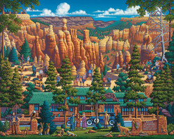 This puzzle by artist Eric Dowdle features Bryce National Park, a popular tourist destination in Southwestern Utah. It is wonderfully entertaining puzzle full of vibrant color and created in Eric Dowdle's highly popular and unique style.