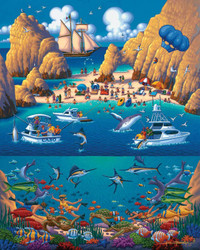 A whimsical depiction of Cabo San Lucas by artist Eric Dowdle featuring the beaches and water sports for which this popular tourist destination is well-known.
