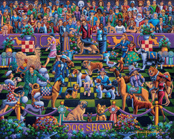 An especially creative puzzle depicting the U.S. National Dog Show, providing lots of fun surprises in a delightfully colored and fun design.