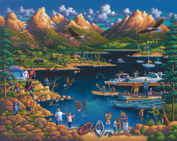 An entertaining picture of Grand Teton National Park by folk artist Eric Dowdle featuring one the park's many bodies of water and providing a glimpse of tourists, animals and birds enjoying the natural amenities of the park.