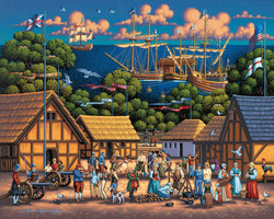 A nicely designed illustration of the Historic Jamestown Visitor Center by artist Eric Dowdle which includes a colorful assortment of interesting features in an especially entertaining puzzle.
