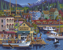 A very colorful jigsaw puzzle featuring Ketchikan, Alaska that includes many interesting details of the town painted in the artist's characteristic and highly popular style.