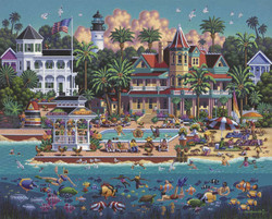 A fun painting by artist Eric Dowdle of tourists enjoying leisure time at a beachside resort on Key West island, also featuring a number of familiar sites and activities associated with this popular vacation destination.