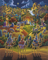 This puzzle is a wonderful portrayal of the Nativity by artist Eric Dowdle featuring an unusual but highly satisfying mix of colors and very well thought-out design.