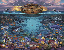 """Noah's Ark Under the Sea"" is a great companion puzzle to artist Eric Dowdle's popular ""Noah's Ark"", providing a rich display of life below the surface during the Great Flood."