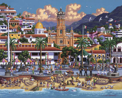 A delightful picture of Puerto Vallarta by artist Eric Dowdle featuring an active beach scene set before a colorful urban center and distant mountains.