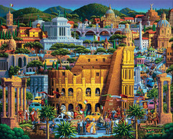 An amazing picture of Rome by artist Eric Dowdle, featuring many iconic sights all presented in a highly organized, entertaining, colorful and especially fun design that is ideal for puzzling.