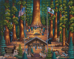 A wonderful painting of Sequoia National Park by artist Eric Dowdle featuring its most famous tree, the General Sherman, along with numerous animals native to the park and a group of happy visitors.