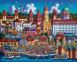 A wonderful painting by folk artist Eric Dowdle featuring St. Augustine, Florida along with many colorful depictions of well-know attractions and historical sites.