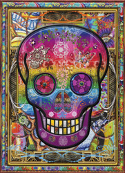 A highly unique puzzle featuring a colorful skull set against an intricately designed background.
