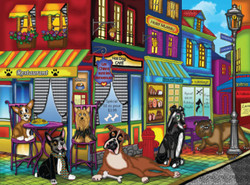 A puzzle presenting a motley group of dogs hanging out on a street corner doing what dogs do.