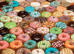 Colorful and expertly decorated doughnuts make for a fun and interesting puzzle.