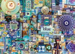 A fun and interesting collage puzzle by Cobble Hill featuring the color blue.