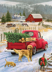 A nice wintertime scene on a rural farm featuring the arrival of the family Christmas tree in a classic, red Cobble Hill truck.
