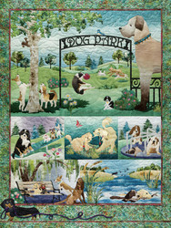A delightful puzzle by Cobble Hill showing a variety of dog-themed images crafted into several colorful custom quilts with creatively styled stitching.