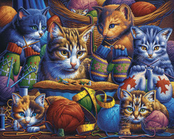 Kittens Knittin' Mittens, (WOOD) 500pc : FREE Shipping