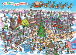 DoodleTown: 12 Days of Christmas, 1000pc