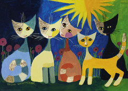 A wonderfully colorful company of cats by artist Rosina Wachtmeister provides the perfect subject for this high-quality Heye puzzle.