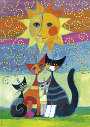 This colorful puzzle from Heye features four cats posed under a smiling sun against a background of horizontal bands of addition color.