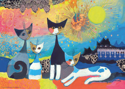 """Laces"" is a colorful puzzle from Heye that features four happy cats lounging comfortably and set against a highly artistic and interestingly designed background."