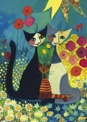 This puzzle by Heye features three cats sitting among flowers in a colorful garden beneath a radiant sun.