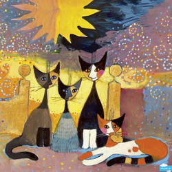 This wonderful picture of four cats posed before a colorful backdrop and dramatic sun offers a very enjoyable puzzling experience to anyone desiring to undertake it.
