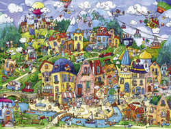 """Happytown"" is the ideal place to call home if you're a tamed domestic animal. This puzzle by Heye is both fun and interesting. It is ideal for either individual or family puzzling."