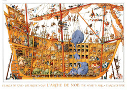 Noah's Ark is presented in this Heye Puzzle in the light-hearted, characteristic style of the late French artist, Jean-Jacques Loup. The puzzle is both interesting and entertaining, a pleasure to build.