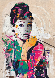 """Audrey"" is a distinctive and very appealing puzzle from Heye featuring Audrey Hepburn portrayed in a somewhat abstract style with bold colors and artistic setting."