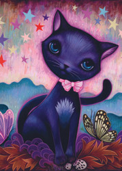 """Black Kitty"" is a delightful puzzle from Heye featuring the work of artist Jeremiah Ketner. It has a fairytale-like aspect to it that is both distinctive and visually appealing, making for a very enjoyable puzzling experience."