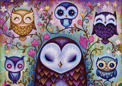A whimsical treatment of an ever popular subject for puzzling, owls, by artist Jeremiah Ketner makes for a very enjoyable puzzling experience.