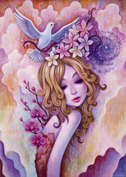 """""""Spirals"""" is a delightful puzzle from Heye featuring the work of artist Jeremiah Ketner. It has a fairytale-like aspect to it that is both colorful and visually appealing, making for a very enjoyable puzzling experience."""